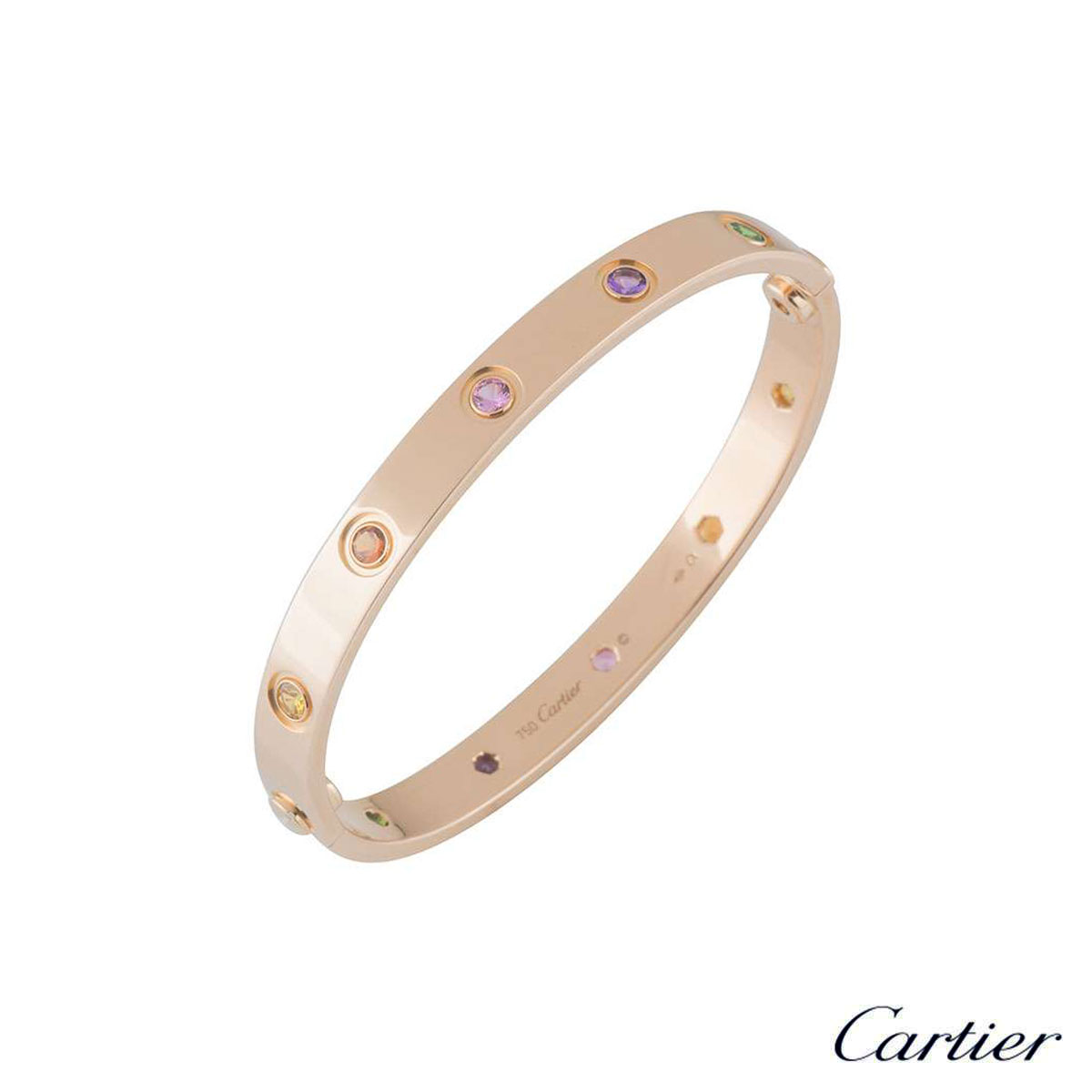 Cartier Rose Gold Coloured Stones Love Bracelet Size 17 B6036517